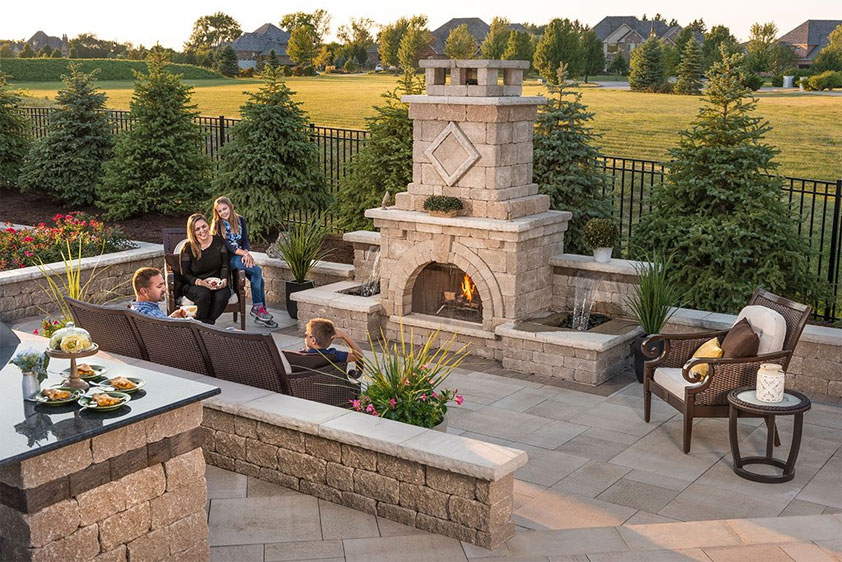 outdoor fireplace design ideas getting cozy with 10 designs unilock - Outdoor Fireplace Design Ideas