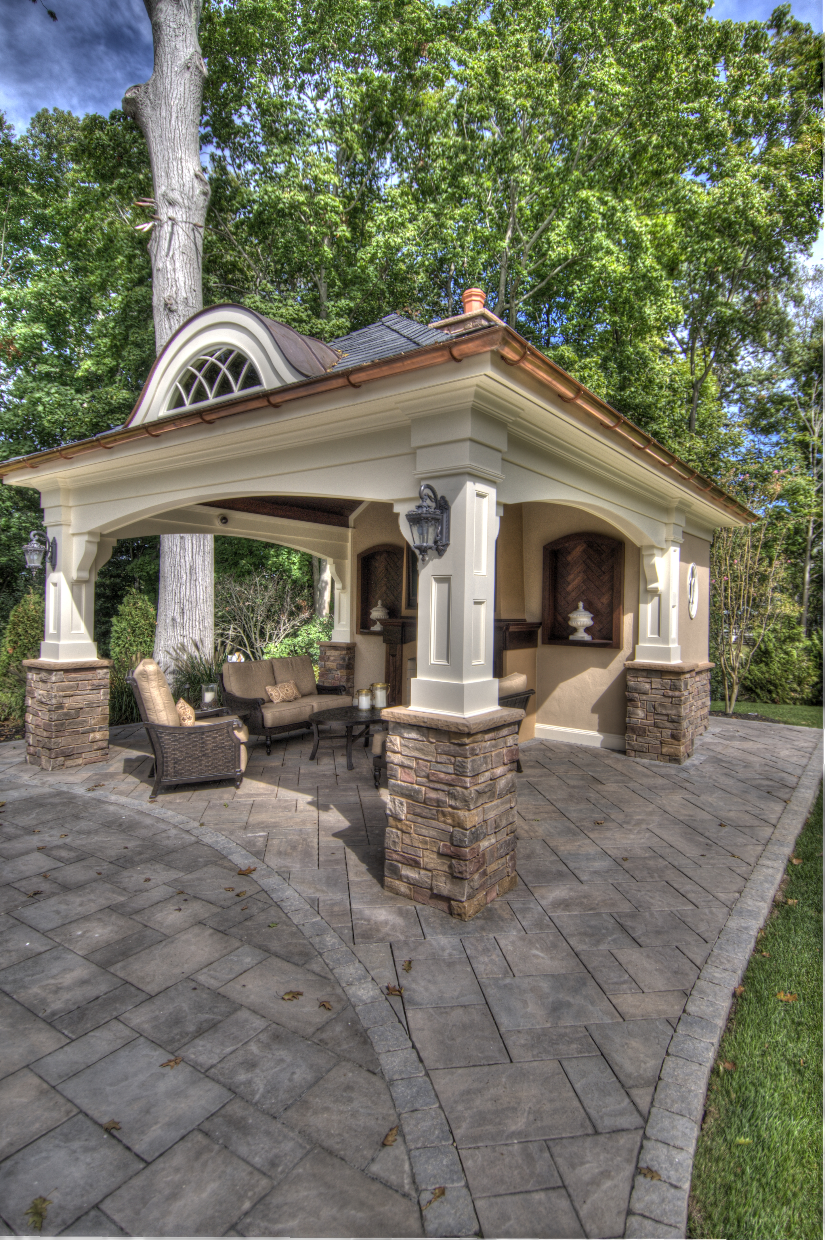 Building a shed on a hill - In The Exterior Design Of The Patio Huts Traditional Architecture Matching That Of The Main Building Is Injected With The Curves Of The Landscape With The