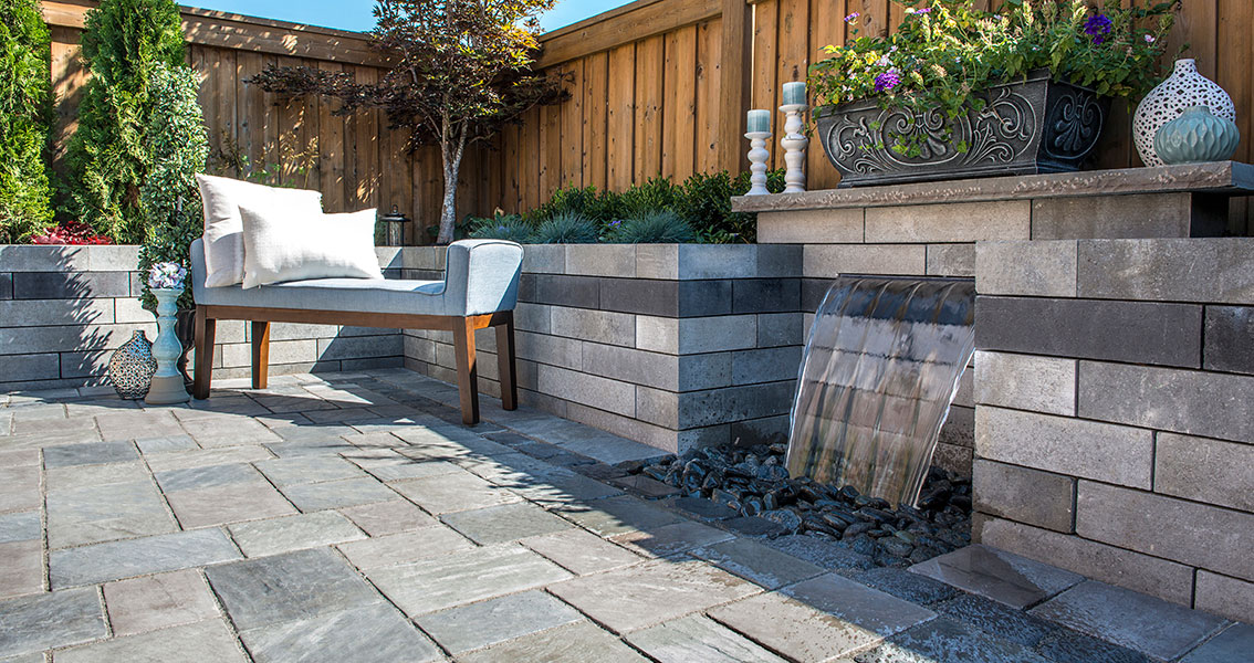 Water feature and outdoor living in Franklin Lakes, NJ