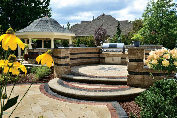 a weathered border can be achieved through the use of unilocks antara pavers among many others - Unilock Patio Designs