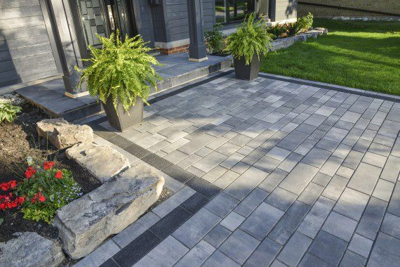 uniform pavers and emphasize the modern nature of the design  Merging  the soft shapes and textures of the potted plants with the distinct shapes  of the. Patio Pavers for Modern Landscape Designs   Unilock