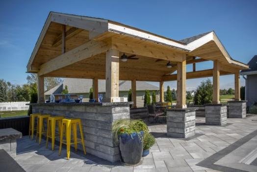 Unilock U-Cara Blocks for Contemporary Outdoor Kitchens in Saratoga, NY