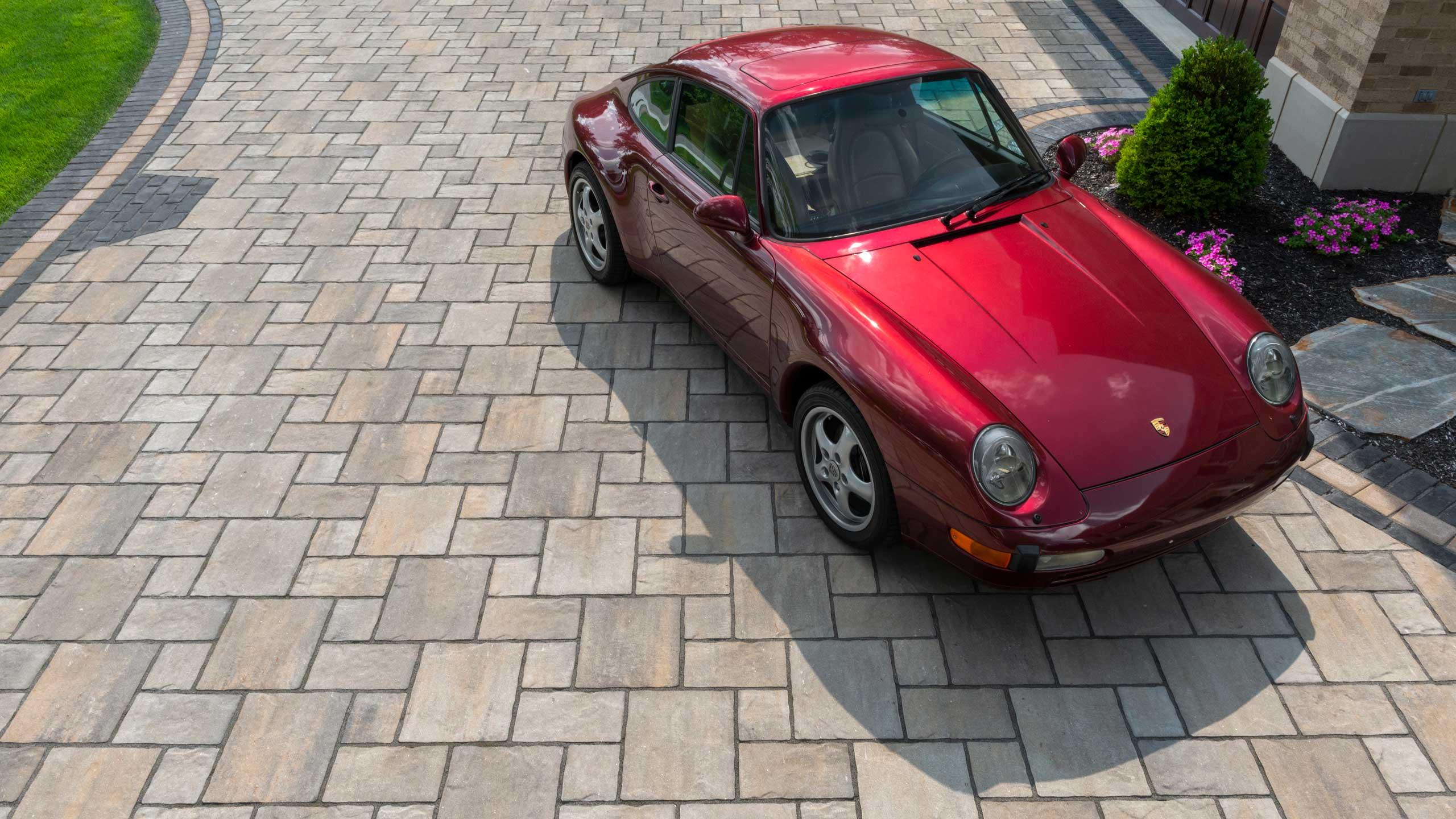 Classic Red Car on Thornbury Driveway