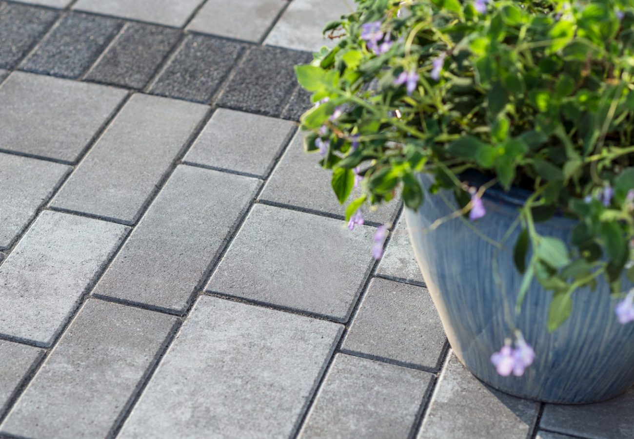 Closeup of contemporary Unilock Artline linear plank pavers