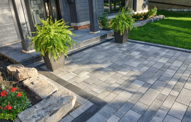Contemporary entrance and walkway using Unilock Artline linear plank pavers
