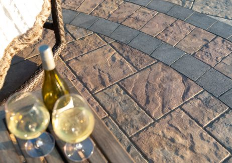 Closeup of Unilock Beacon Hill Flagstone paver patio