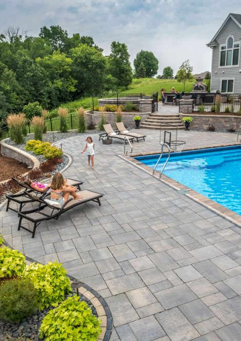 Unilock Bristol Valley paver pool deck, with Fullnose pool coping