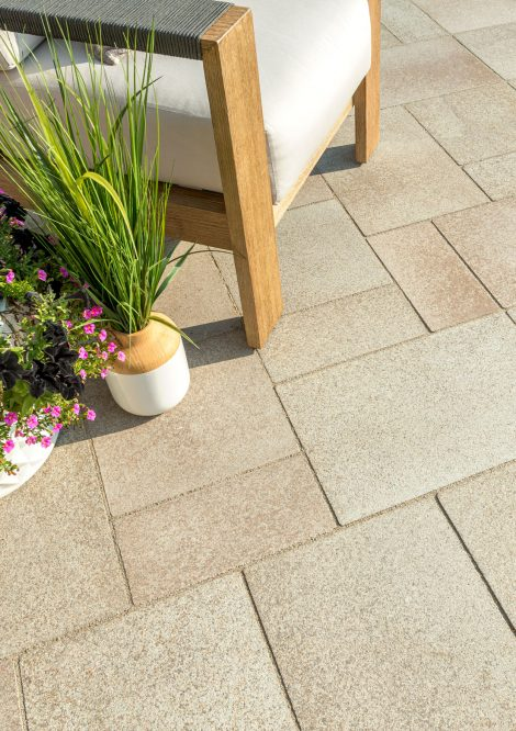 Unilock contemporary Umbriano EnduraColor paver patio