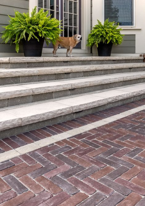 Unilock Copthorne Elegance paver entrance and Ledgestone steps