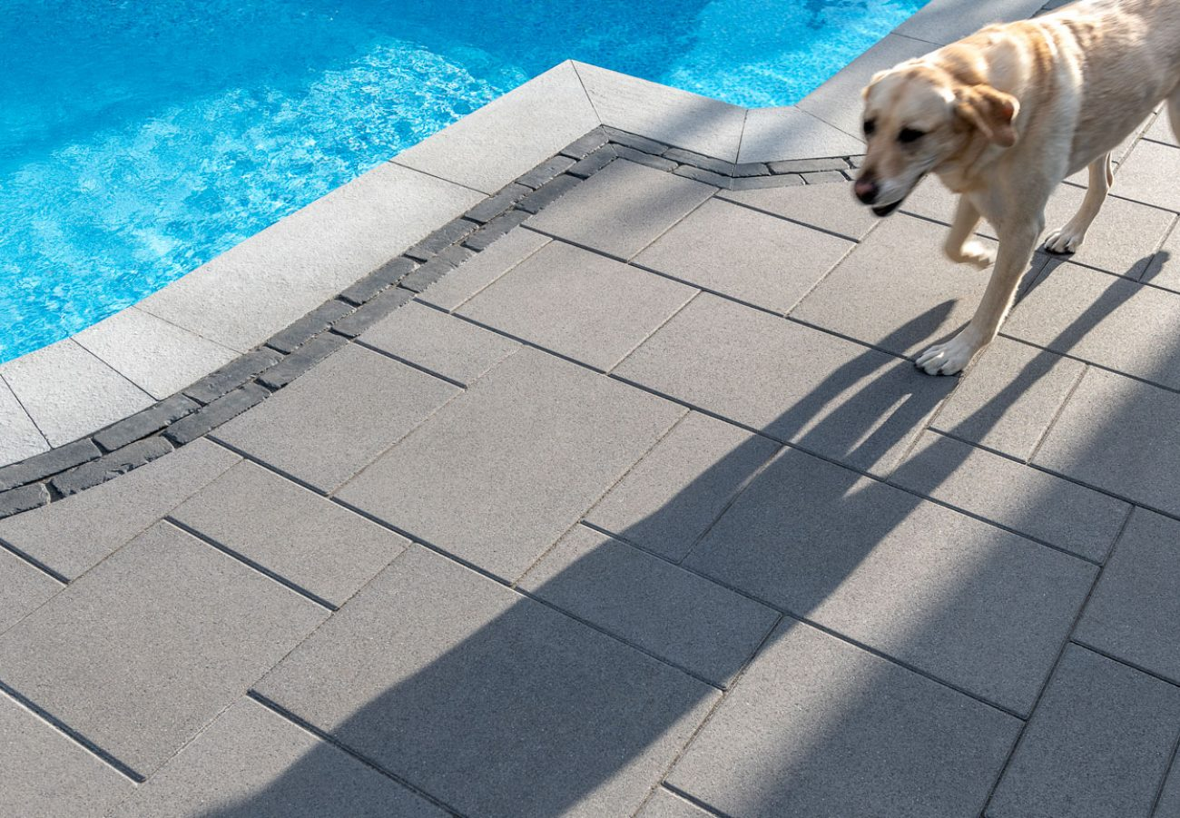 Unilock contemporary Umbriano pool deck with dog running by