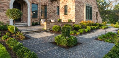 Unilock Elegance walkway and entryway in Town Hall Elegance pavers and Artline linear plank pavers