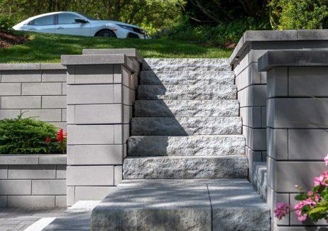 Unilock U-Cara retaining wall and Ledgestone stairs