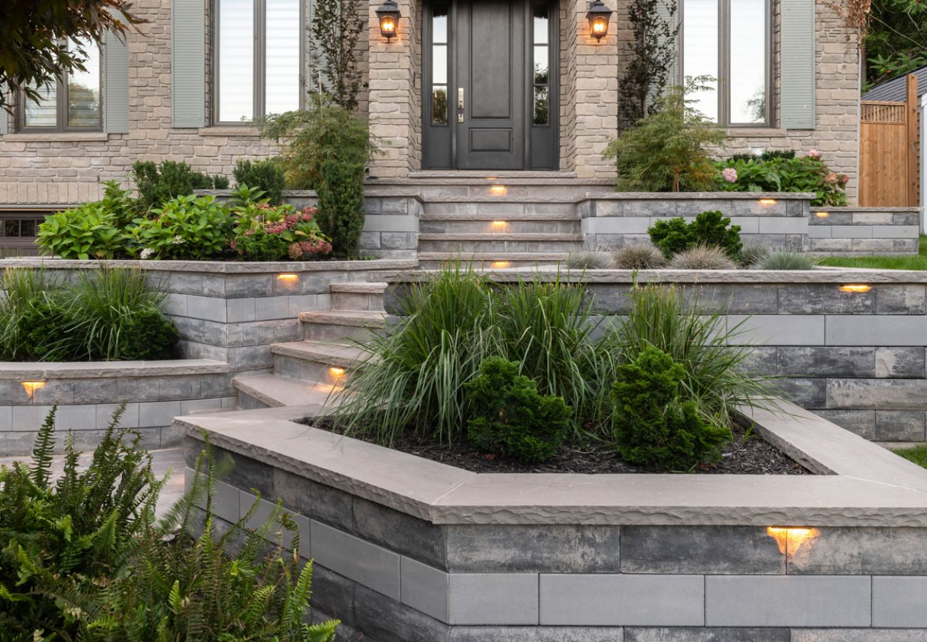 Contemporary Unilock U-Cara retaining walls and entryway