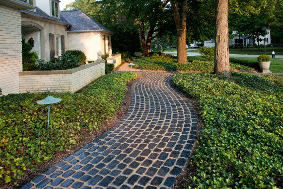 Paving a Quaint Walkway With Accents Like Stones and Groundcover in New Paltz, NY
