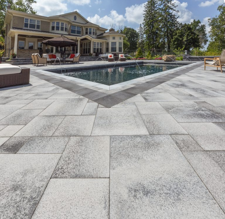 Sandy Colored Patio Pavers for Beachy Poolsides in Ridgefield, CT