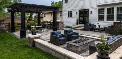 Moden Backyard Patio with private dining area and sunken fire feature area