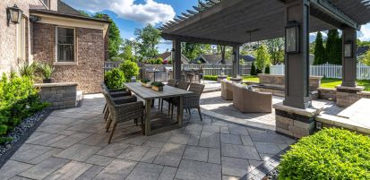 Bautiful Patio built with Bristol Valley and Brussels Dimensional Outdoor kitchen