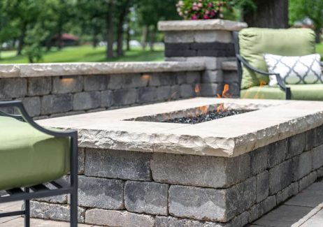 Olde Quarry Fire Feature with Ledgestone coping