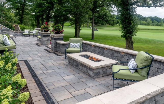 Bristol Valley Patio with a Fire Feature built with Olde Quarry wall and Ledgestone coping