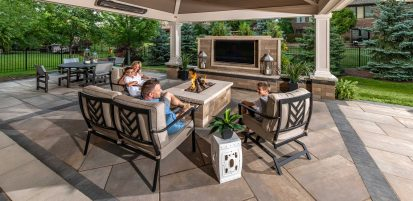 Family enjoying outdoor living room
