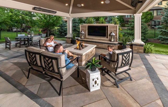 Family enjoying outdoor living room