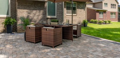 Holland Premier patio with a table and chairs